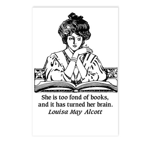 Too Fond of Books (LM Alcott) Postcards (Package o
