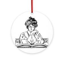 Too Fond of Books (LM Alcott) Ornament (Round)