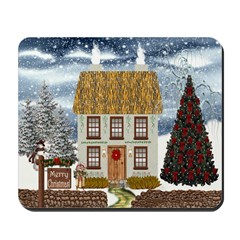 Merry Christmas Cottage Mousepad