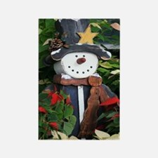 A Rustic Country Snowman Rectangle Magnet