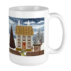 Merry Christmas Cottage Mug