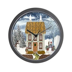 Winter Cottage Wall Clock