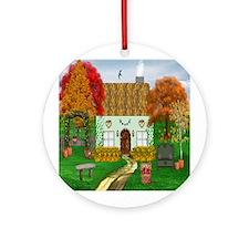 Autumn Cottage Ornament (Round)