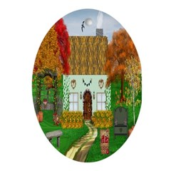 Autumn Cottage Oval Ornament