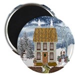 Winter Cottage Round Magnets (10 pack)