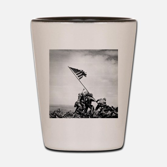 Cute Iwo jima flag raising Shot Glass