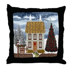 Merry Christmas Cottage Throw Pillow