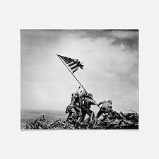 Iwo Jima, raising the flag Throw Blanket