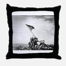 Iwo Jima, raising the flag Throw Pillow