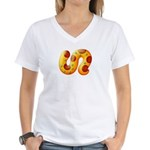 Fiery Maya Jaguar Tail Women's V-Neck T-Shirt