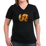 Fiery Maya Jaguar Tail Women's V-Neck Dark T-Shirt