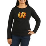 Fiery Maya Jaguar Tail Women's Long Sleeve Dark T-