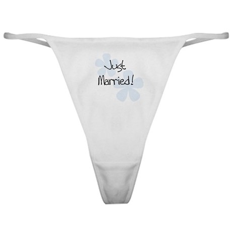 Blue Flowers Just Married Classic Thong