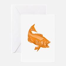 Largemouth Bass Diving Drawing Greeting Cards