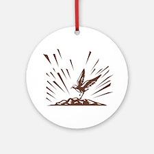 Plover Landing Island Woodcut Round Ornament