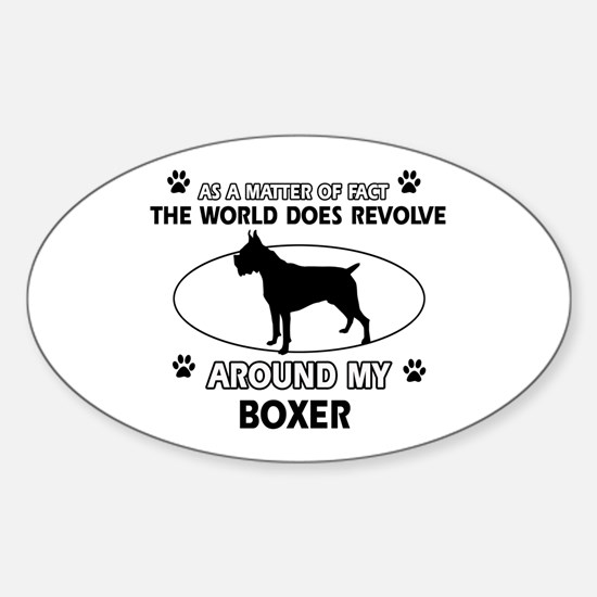 Boxer Dog Awesome Designs Sticker (Oval)