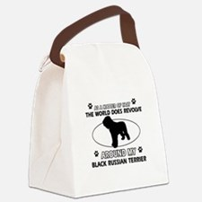 Black Russian Terrier Dog Awesome Canvas Lunch Bag