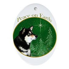 Shiba(blk) Peace Oval Ornament