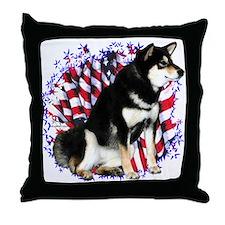 Shiba(blk) Patriot Throw Pillow