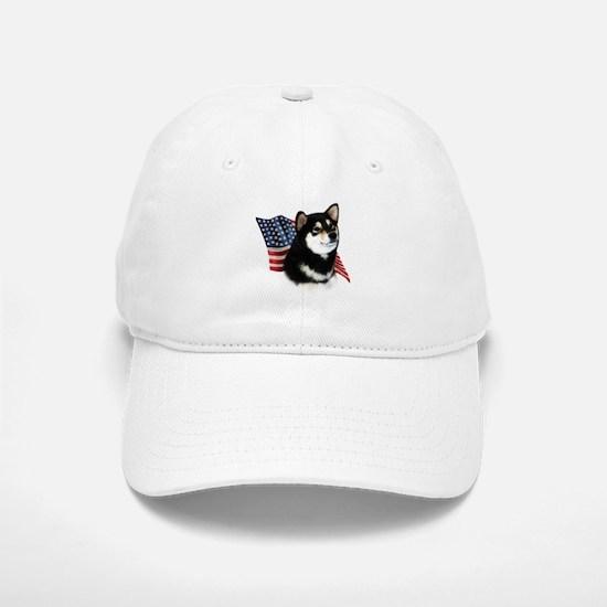 Shiba(blk) Flag Baseball Baseball Cap