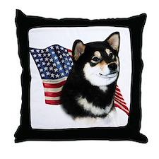 Shiba(blk) Flag Throw Pillow