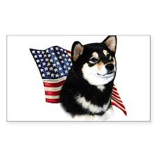 Shiba(blk) Flag Rectangle Decal