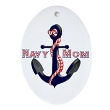 Navy Mom Anchor Oval Ornament