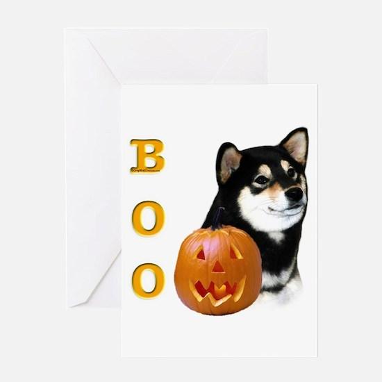 Shiba(blk) Boo Greeting Card