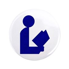 """Blue Tinfoil Library Logo 3.5"""" Button (100 pack)"""