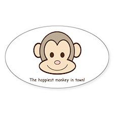 Happiest Monkey Oval Decal