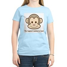 Happiest Monkey Women's Pink T-Shirt
