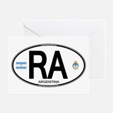 Argentina Euro Oval Greeting Card