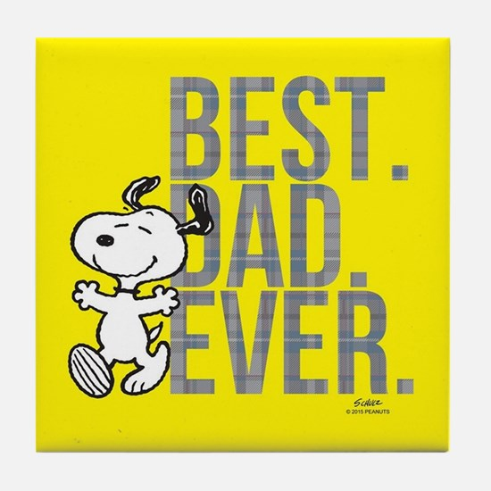 Snoopy - Best Dad Ever Full Bleed Tile Coaster