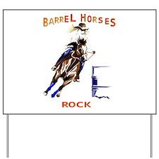 Barrel Horses Rock Yard Sign