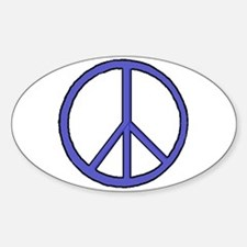Electric Blue Peace Symbol Oval Decal