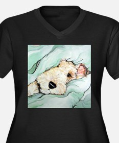 Napping Wire Fox Terrier Women's Plus Size V-Neck