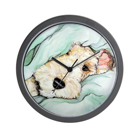 Napping Wire Fox Terrier Wall Clock