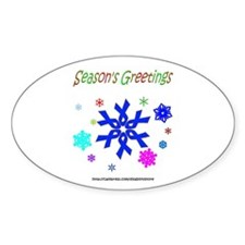 Blue Ribbon Snowflake Oval Decal