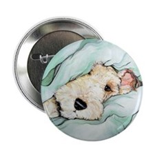 """Napping Wire Fox Terrier 2.25"""" Button (10 pack)"""