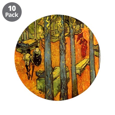 """Alyscamps by Vincent Van Gogh 3.5"""" Button (10 pack"""