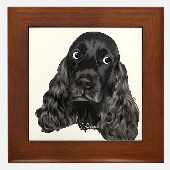 Cute Black Cocker Spaniel Portrait Print Framed Ti