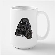 Cute Black Cocker Spaniel Portrait Print Mugs