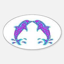 Tribal Dolphin Oval Decal