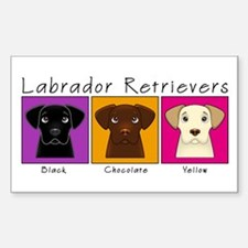 Three Labradors Bright Rectangle Decal