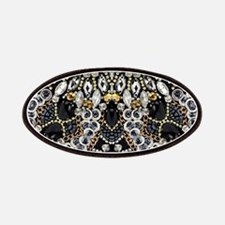 art nouveau black rhinestone Patch