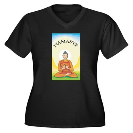 NAMASTE Women's Plus Size V-Neck Dark T-Shirt