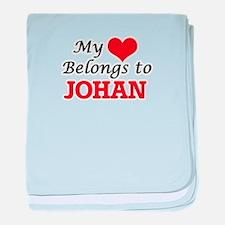 My heart belongs to Johan baby blanket