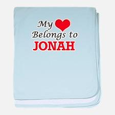 My heart belongs to Jonah baby blanket