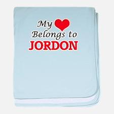 My heart belongs to Jordon baby blanket