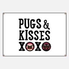 Pugs & Kisses Black Text Stacked Banner